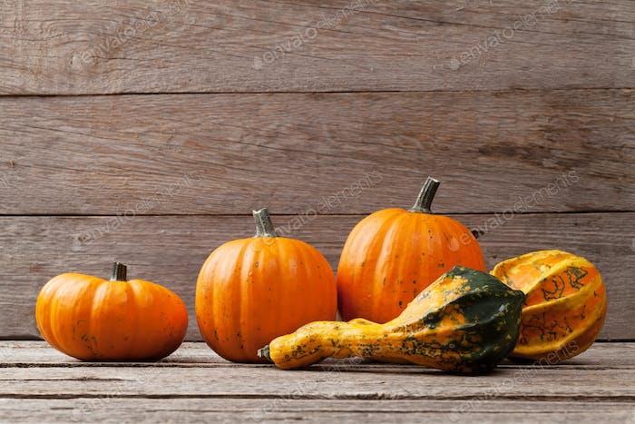 Autumn pumpkins on wooden board table