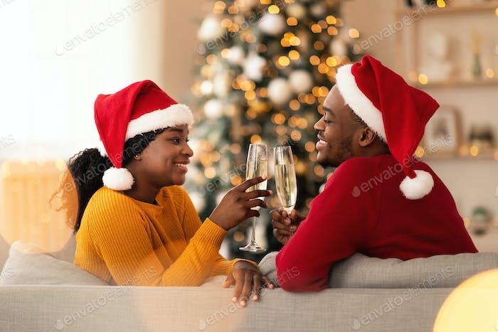 Romantic celebration of Christmas for two during coronavirus