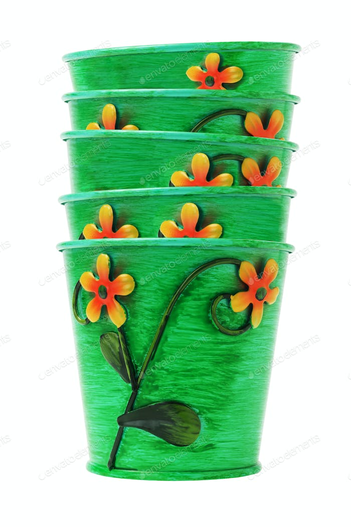 Stack of Colorful Flower Pots