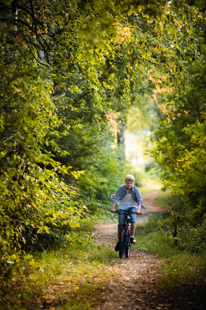 A young boy riding his bike in a summer forest