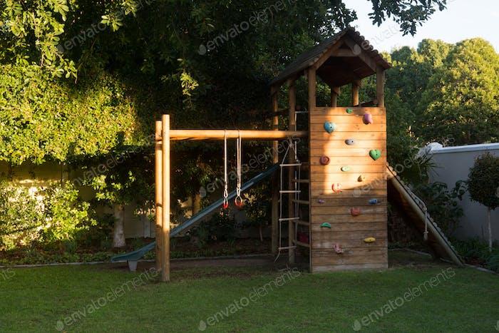 Playground equipment in garden