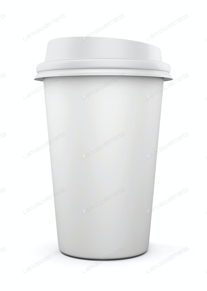 Disposable coffee cup isolated on white background. Mock up for