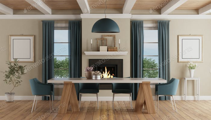 Modern dining table in a classic home interior with fireplace