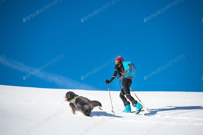 Chica hace esquí montañismo con su perro