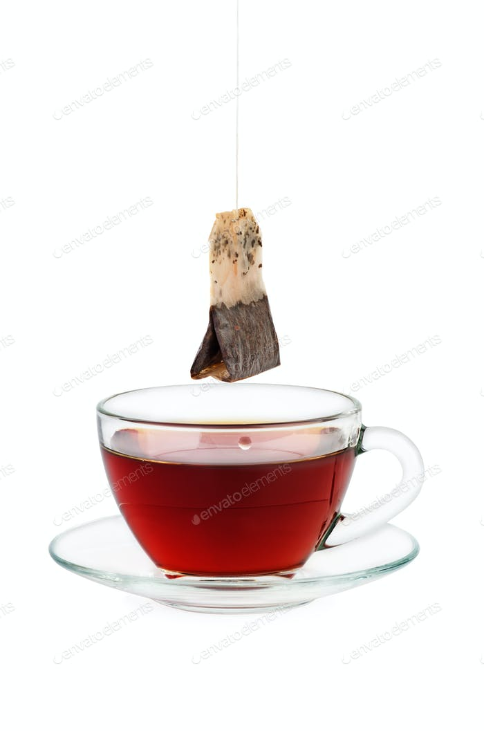 Black tea cup and teabag