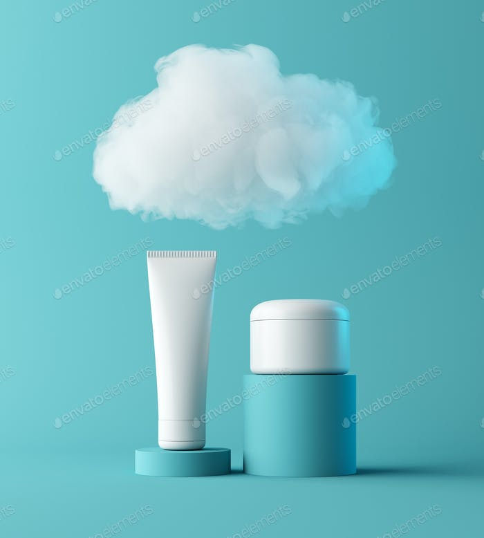 Natural moisturizer cosmetic presentation with cloud, mock up scene podium for product display