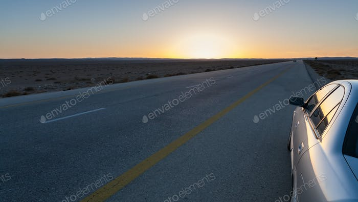 sundown and Desert Highway (Road 15) in Jordan
