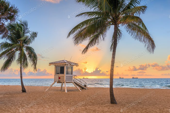 Fort Lauderdale, Florida, USA beach and life guard tower at sunr