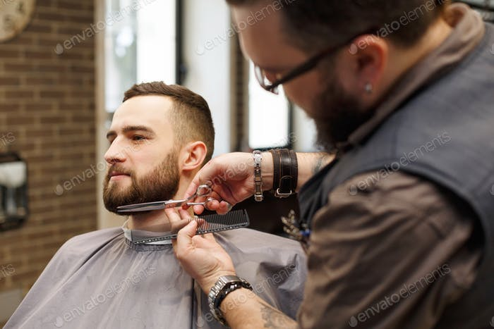 Barber styling beard with scissors to client at barbershop