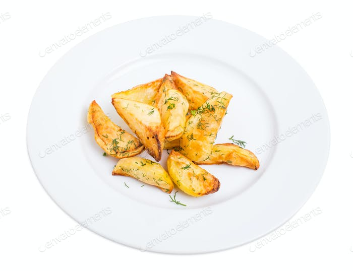 Baked potato wedges with minced dill.