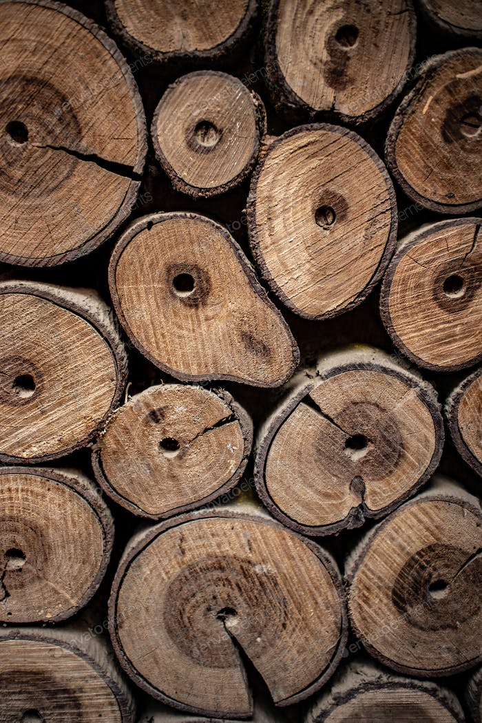 Wooden natural logs as background
