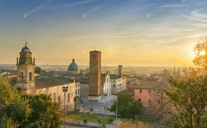 Pietrasanta old town aerial view at sunset, Versilia Lucca Tuscany Italy