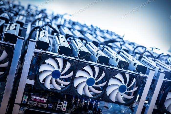 Big IT machine with fans. Cryptocurrency mining