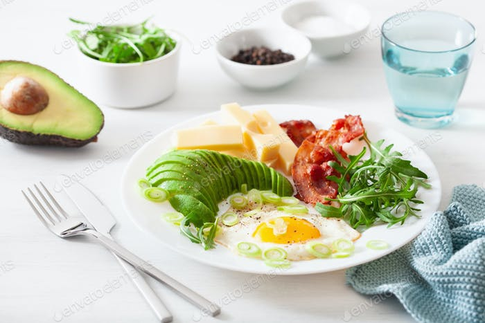 healthy keto breakfast: egg, avocado, cheese, bacon