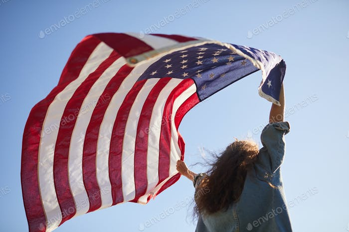 American flag flying in wind