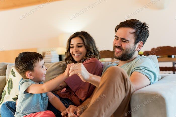 Family playing at home during corona virus pandemic