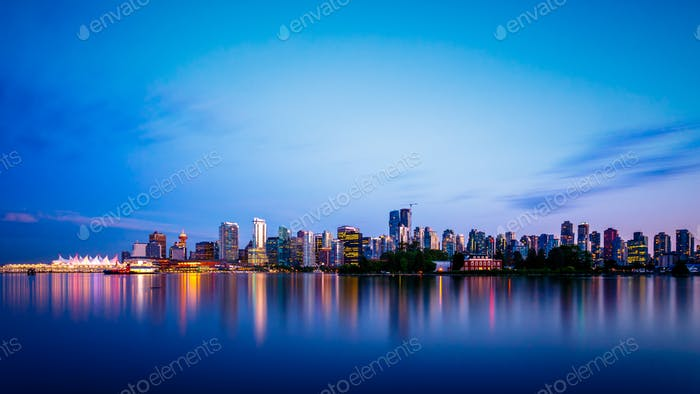 Vancouver City Skyline at Dusk