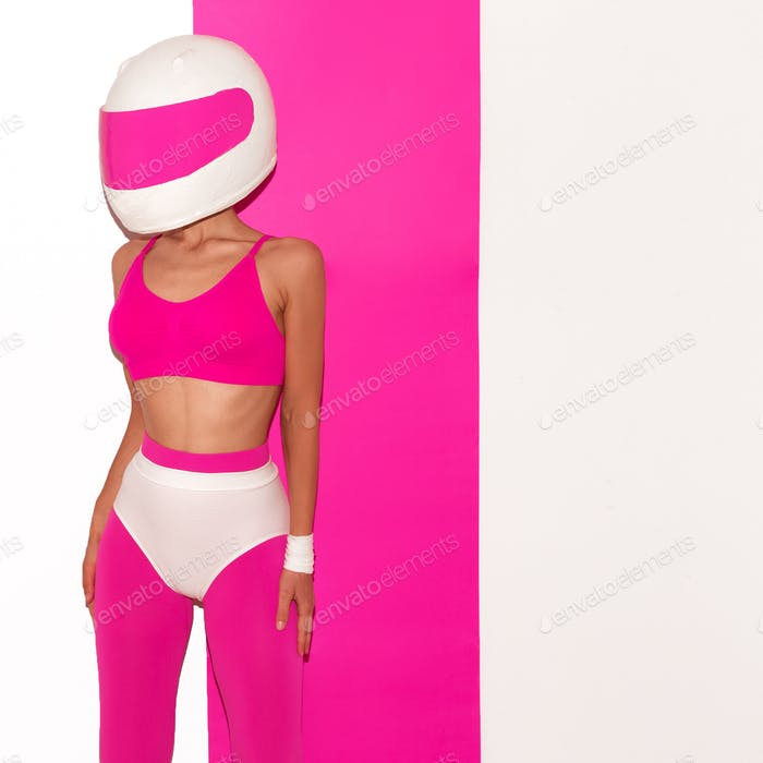 Model in a motorcycle helmet. Minimal fashion art