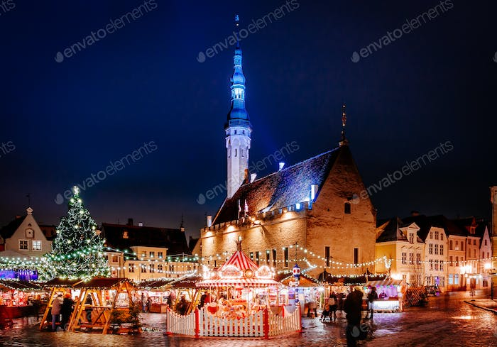 Christmas market at town hall square in the Old Town of Tallinn, Estonia