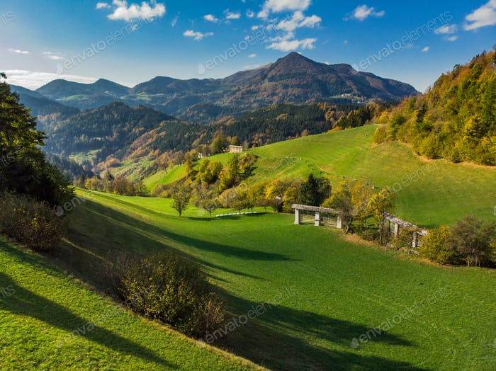 Rolling hills with pasture in rural Slovenia
