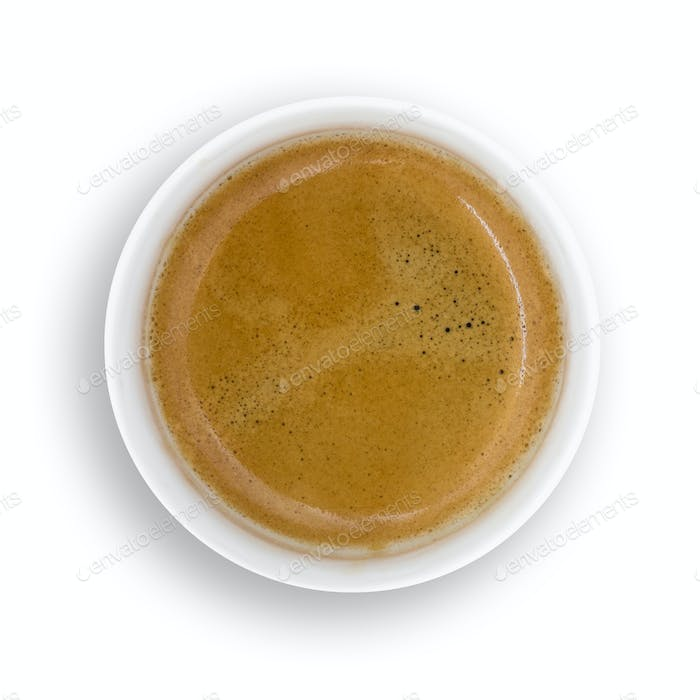 Top view of a paper coffee cup