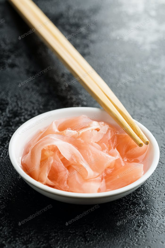 Pickled sushi ginger slices.