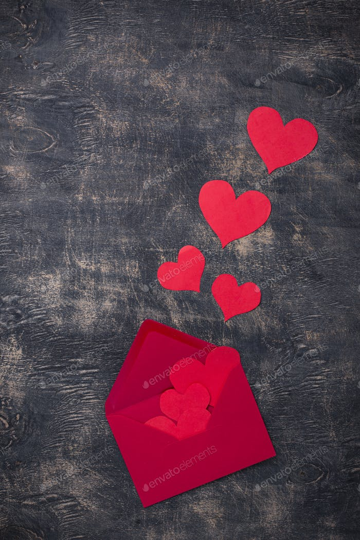 Valentines Day background with envelop