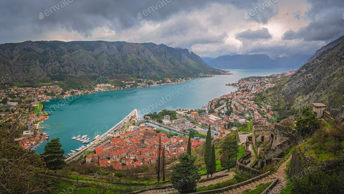 Panorama of Kotor in Montenegro