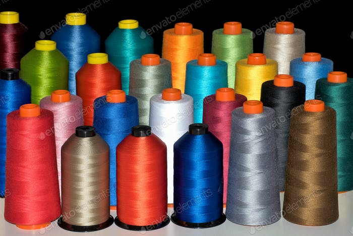 Colour spools in many rainbow colours
