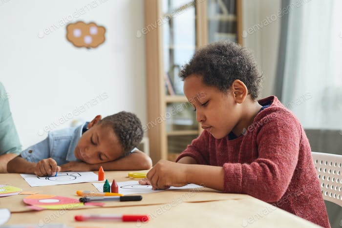 African-American Kids in Art Class