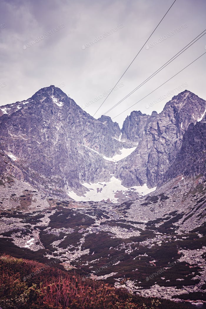 Vintage toned picture of Lomnicky Peak in the Tatras, Slovakia.