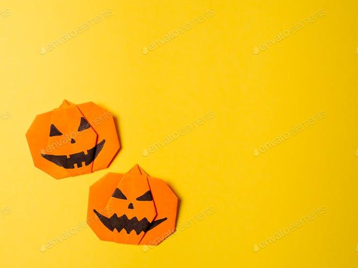 Halloween concept,paper origami pumpkin, copyspace