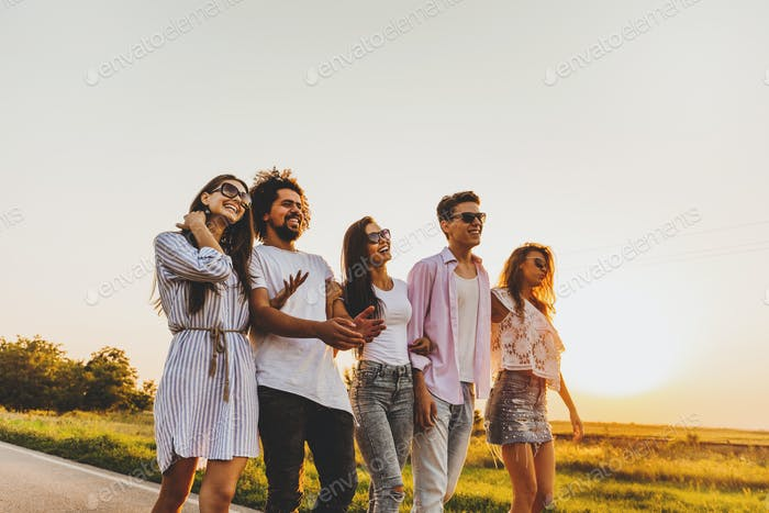 Young stylish two guys and three girls walk on a country road on a sunny day