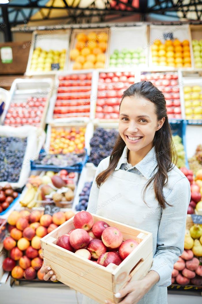 Modern lady entrepreneur selling organic food