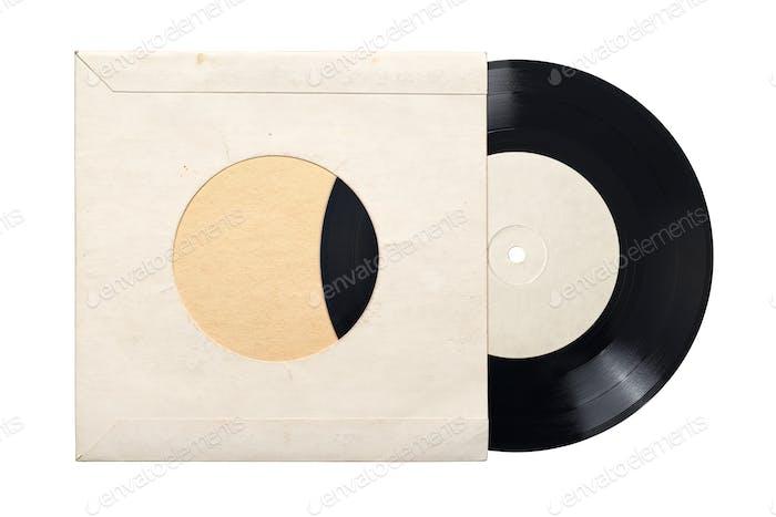 7-Zoll-Schallplatte aus Karton, isoliert auf weiß.