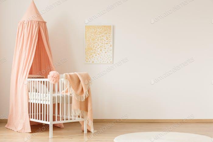 Minimal pastel bedroom interior