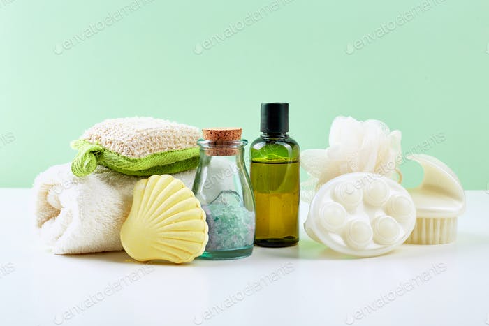 Bathroom Accessories - Shampoo, loofah, towel, bath salt and body brush