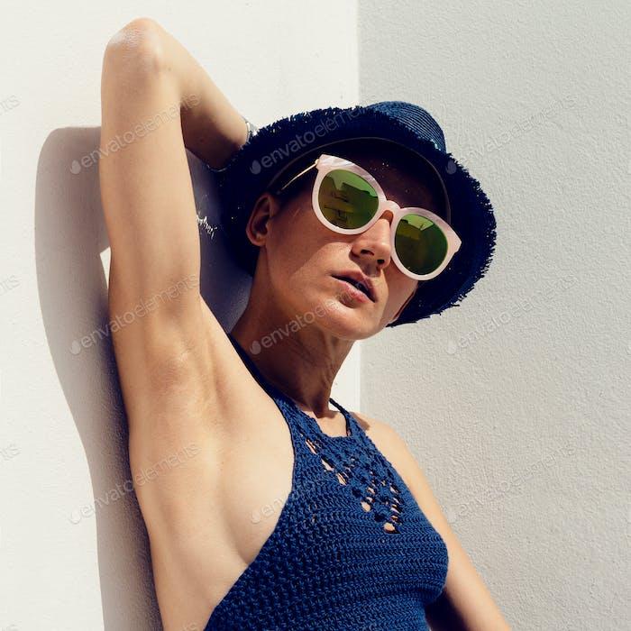 hipster sunny outdoors Stylish Girl Boho trend sunglasses, knitt