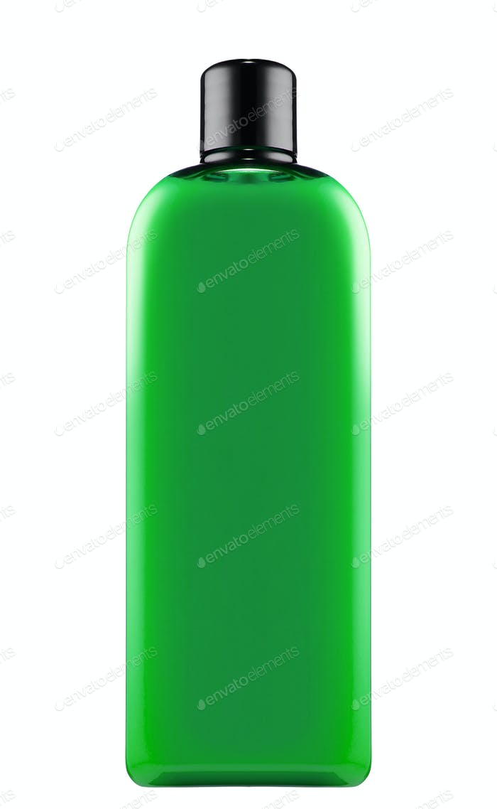 green shampoo bottle isolated