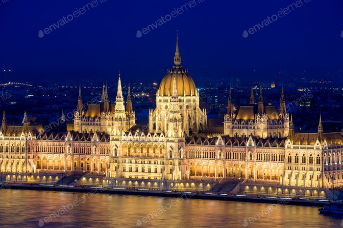 Night view of the Hungarian Parliament Building. Budapest.