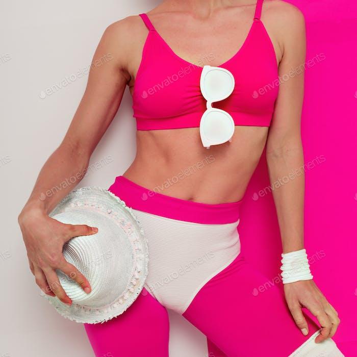 Minimal Pop art Girl with beach accessories fashion vibration Va