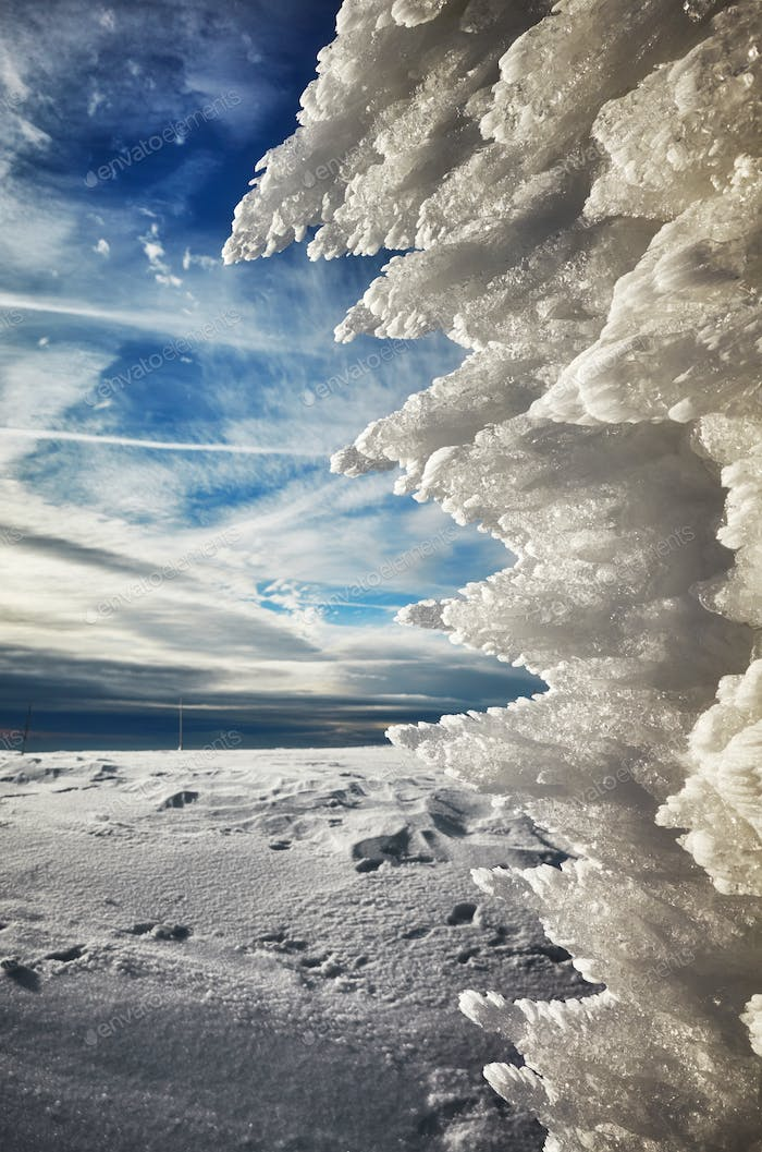 Natural ice formation, abstract winter background.