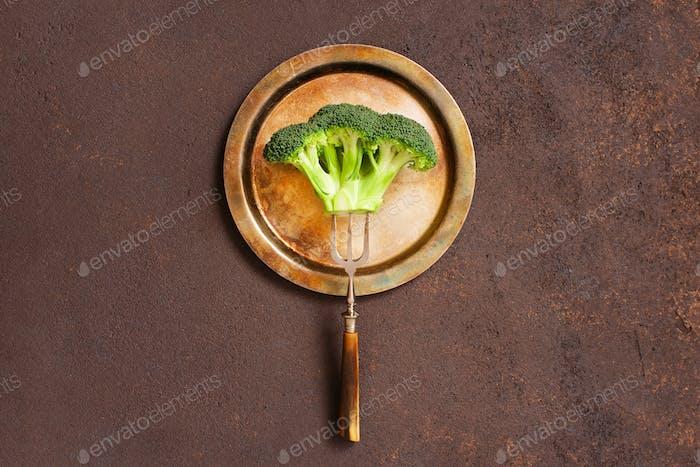 Broccoli on the Vintage Metal Plate