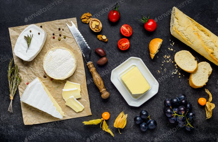 French Cuisine with Brie Cheese and Bread