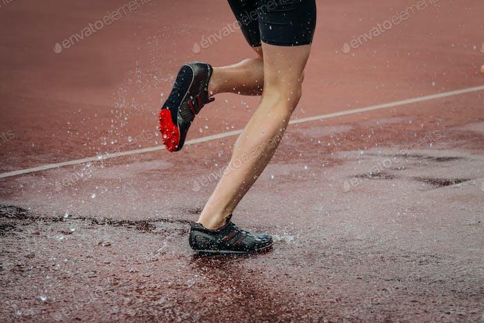 Man Athlete Running Steeplechase