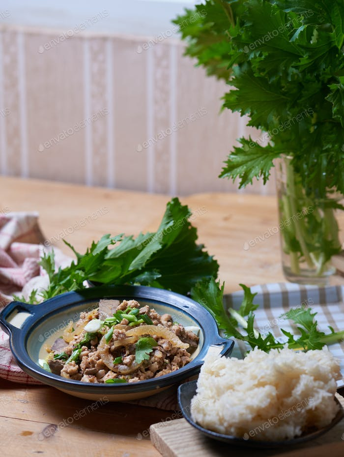 Lao pork salad with rice and vegetable