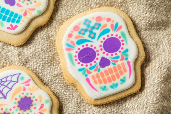 Hausgemachte mexikanische Sugar Totenkopf Cookies