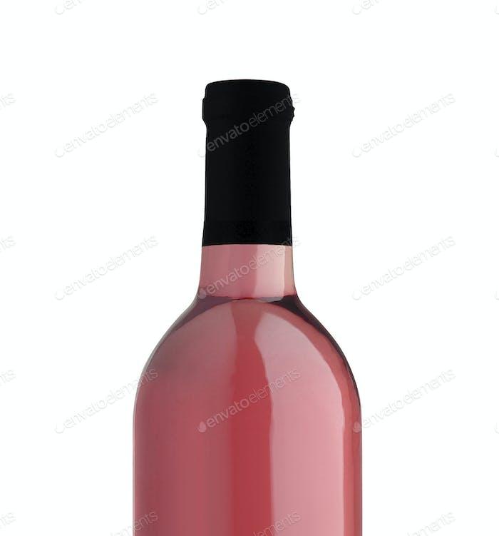 rose wine bottle close up