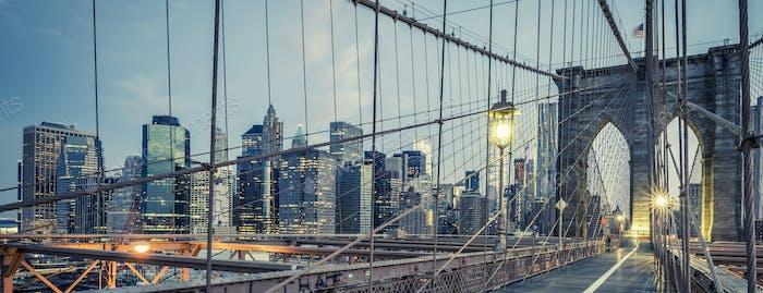 The Brooklyn Bridge by night