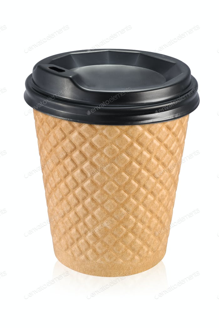Corrugated fiberboard take out coffe cup isolated on white
